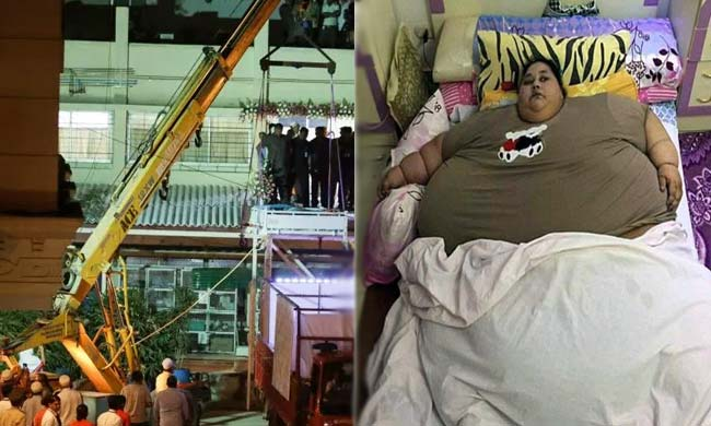 World S Heaviest Woman Lifted Out Of Her House By Crane To